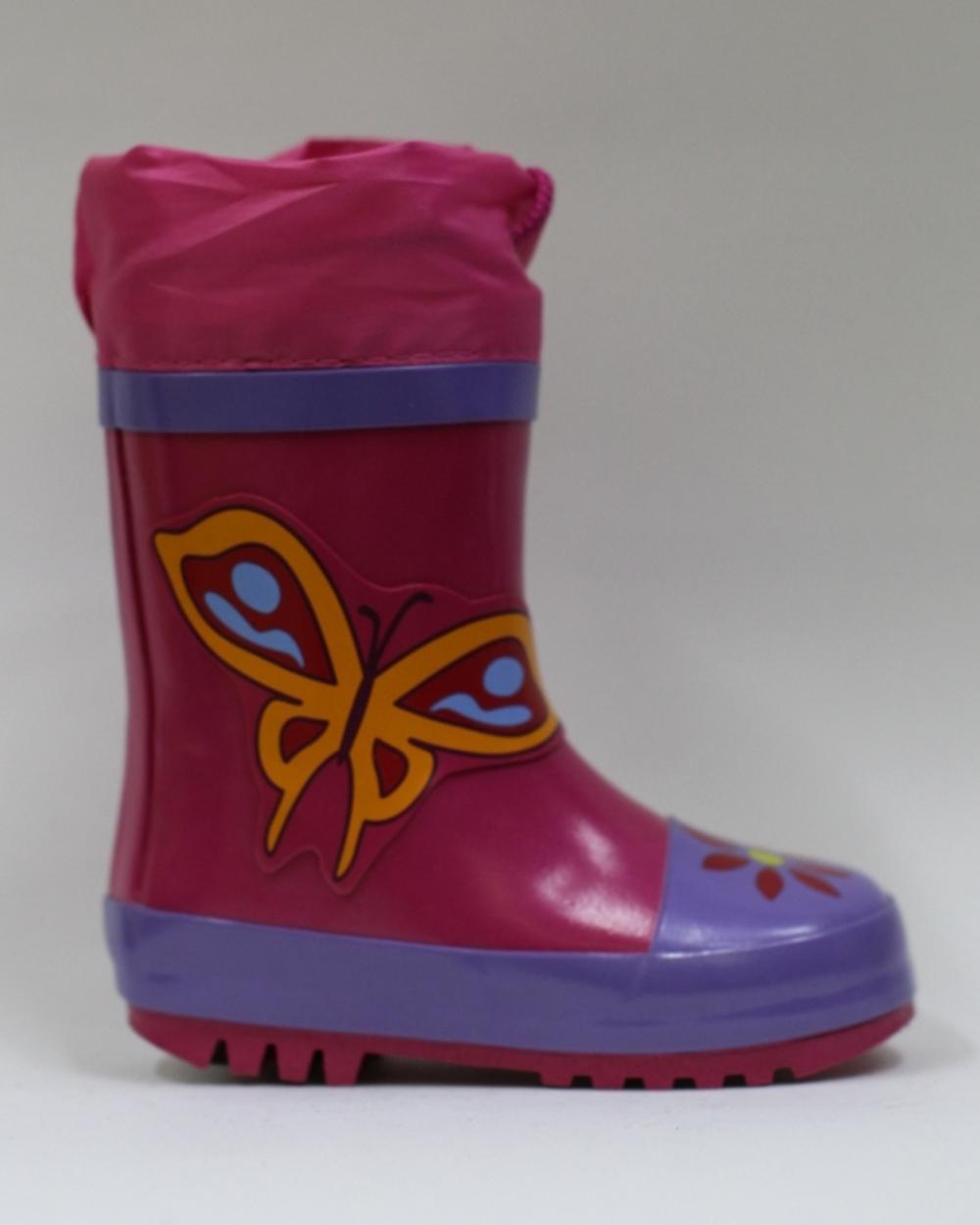Сапоги детские резиновые ярко-розовые с принтом бабочки&q