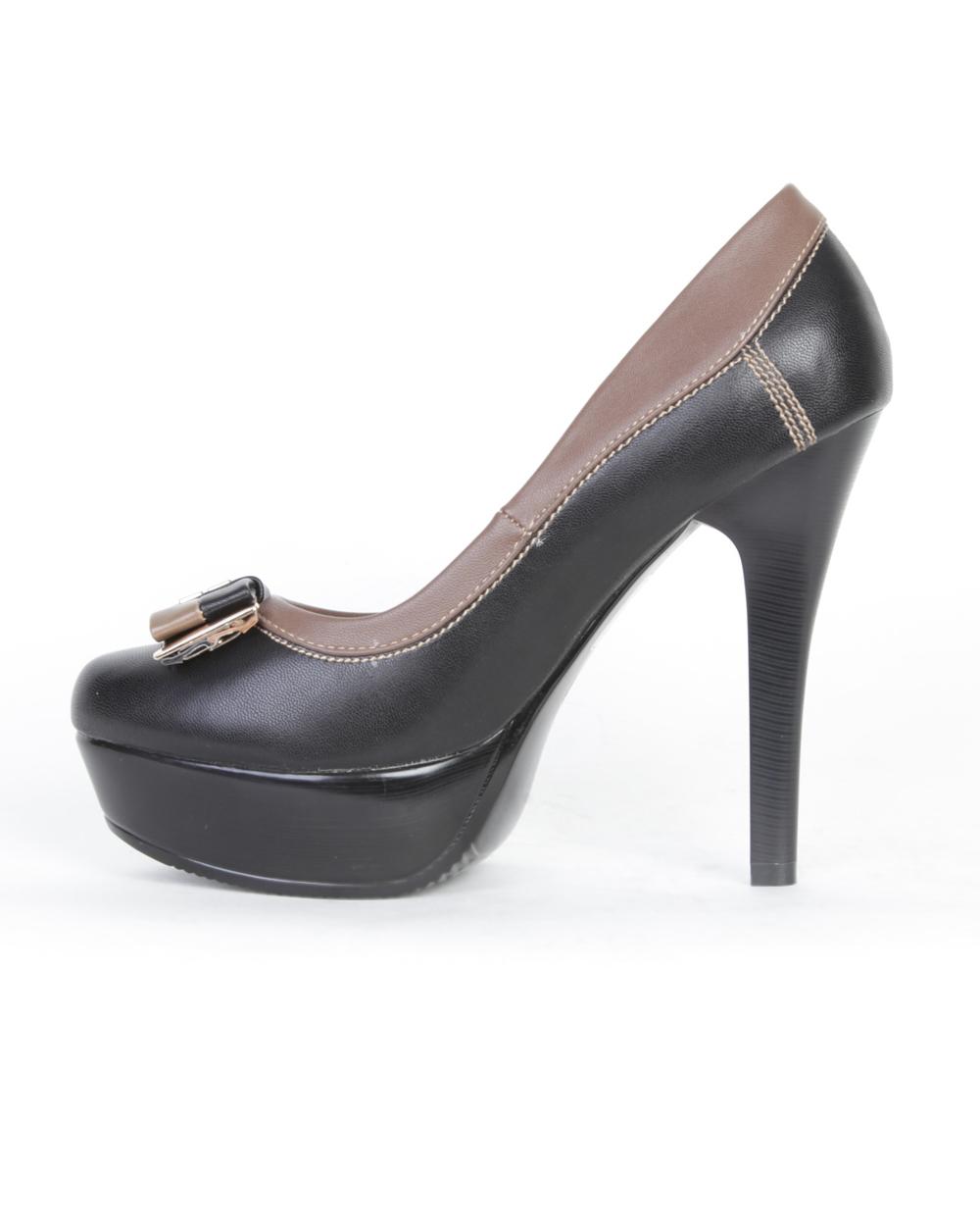 Туфли женские черного цвета со светло-коричневой окантовкой и декоративным бантом Неоходима предоплата